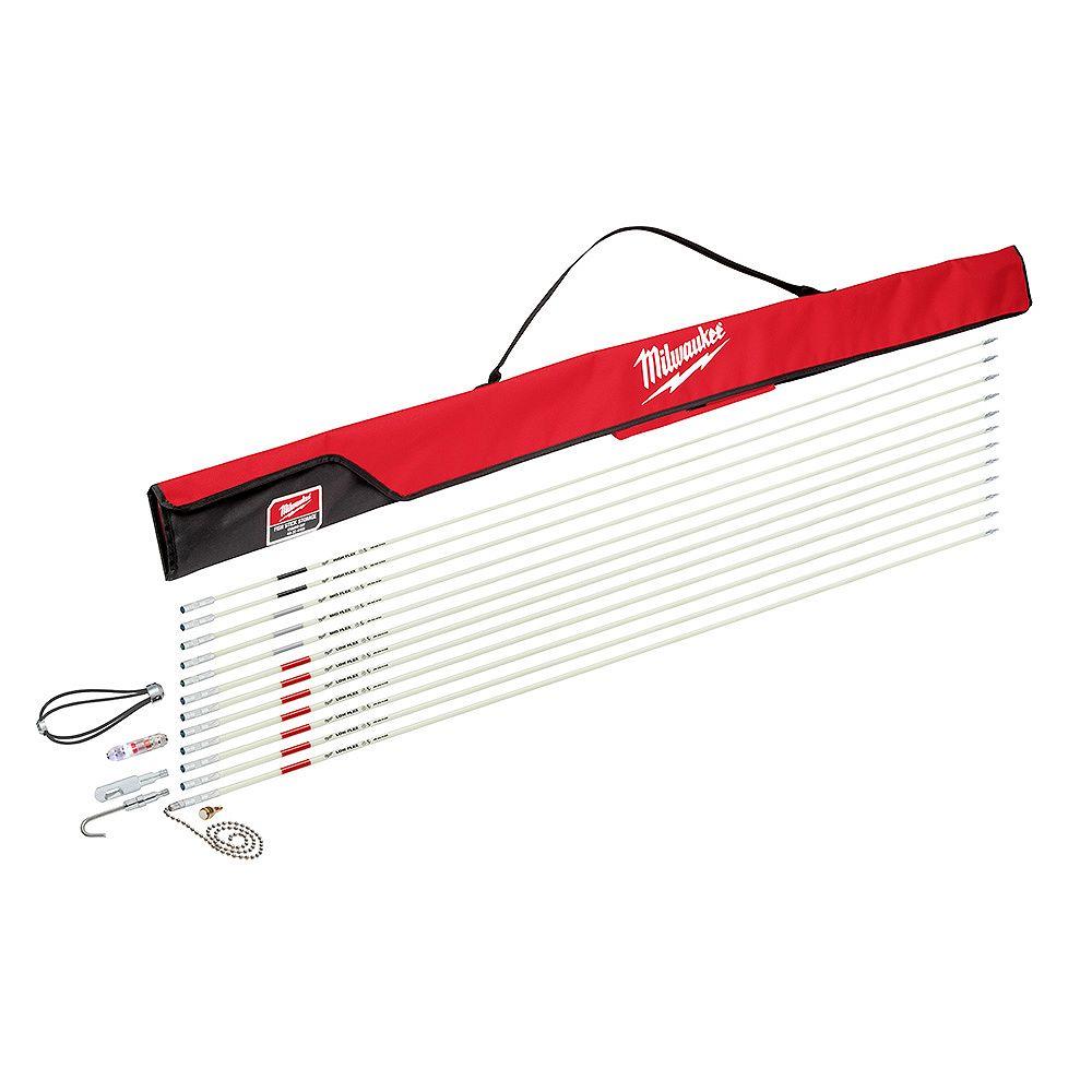 Milwaukee Tool 60 pieds. Kit combiné de bâtonnets de poisson en fibre de verre à faible/moyenne/forte flexibilité