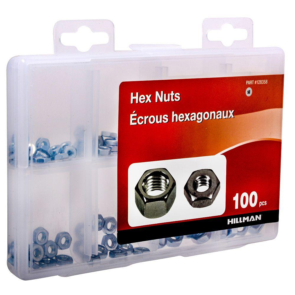 Hillman Assortiment décrous hexagonaux, 100pcs