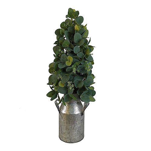 24-inch Tabletop Eucalyptus Tree with Galvanized Milk Jug