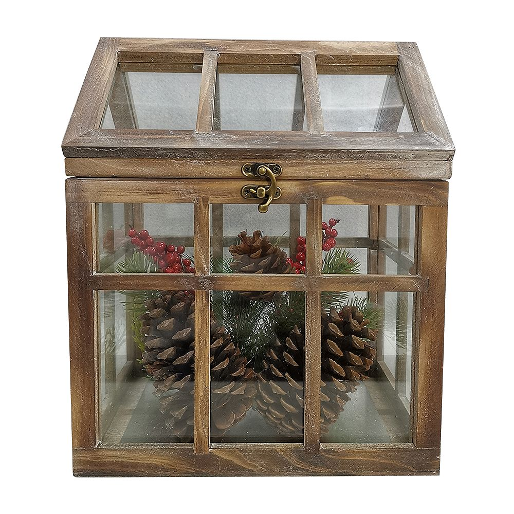 Home Accents Holiday 12 inch Wood House with Greenery