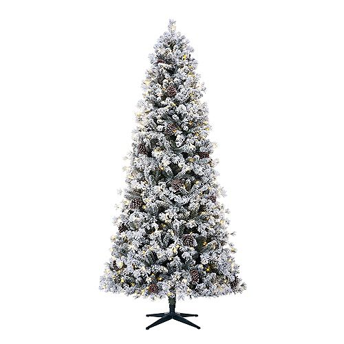 9 ft. Lexington Heavy Flocked Quick-Set White Pine Pre-Lit Tree with 500 Warm White Micro Dot LED Lights