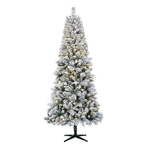 7.5 ft. Wesley Heavy Flocked Quick-Set Slim Pine Pre-Lit Tree with 350 SureBright Warm White Mini LED Lights