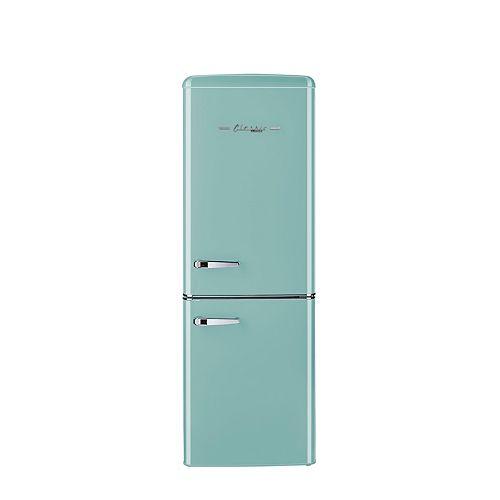 Réfrigérateur à congélateur inférieur rétro, 21,6 po, 7 pi3, turquoise