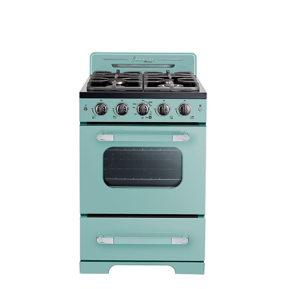 "Unique Classic Retro 24"" 2.9 cu. ft. Gas Range with Convection Oven in Ocean Mist Turquoise"