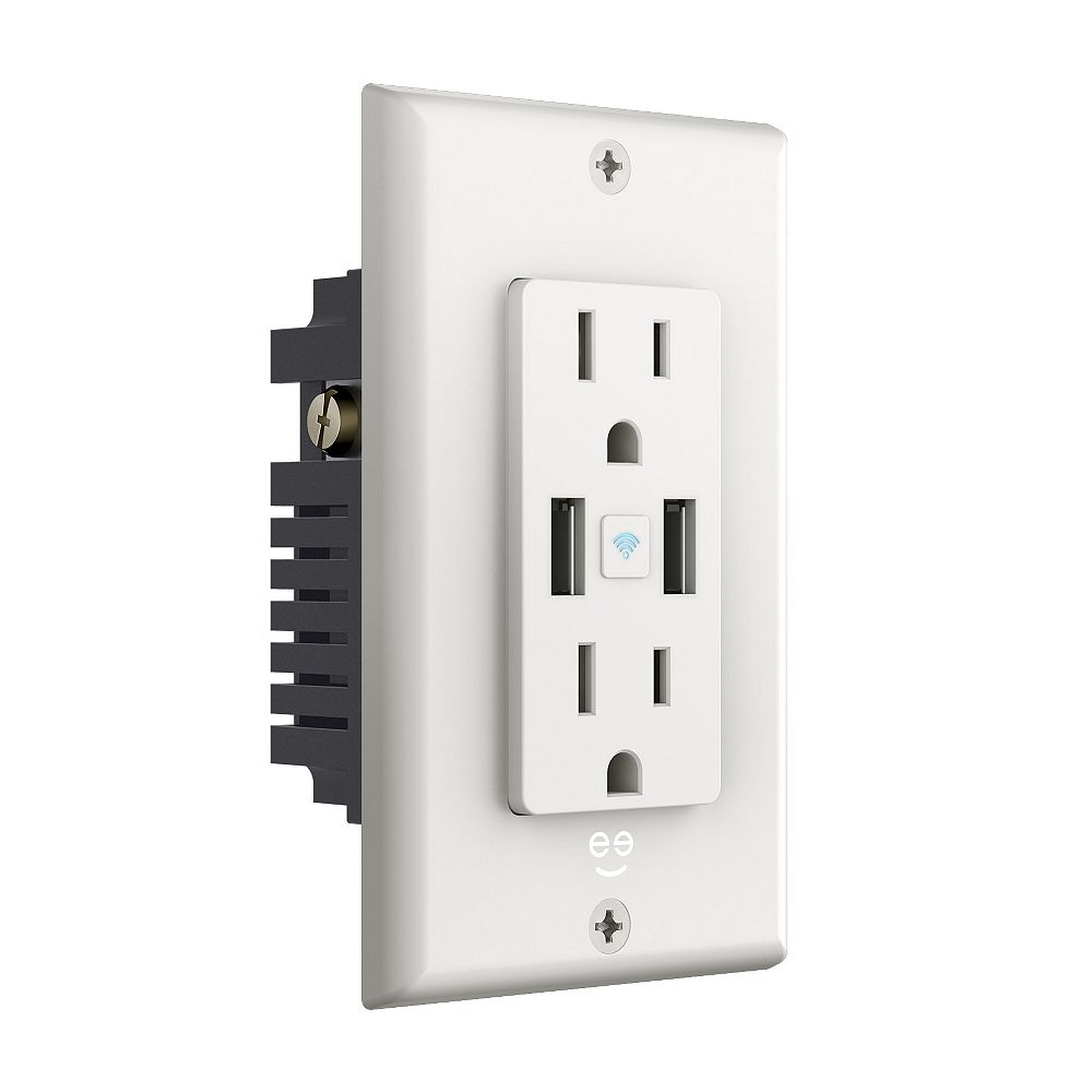 Geeni Geeni CURRENT + CHARGE Prise intelligente Wi-Fi murale inviolable avec 2 ports USB, Blanc