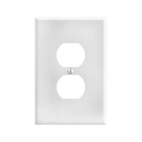 Plaque murale simple pour prise double, surdimensionné, thermodurci, montage sur dispositif - Blanc