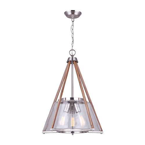 Canarm Ltd Dex 3-Light Brushed Nickel and Faux Wood Chandelier with Seeded Glass Shade