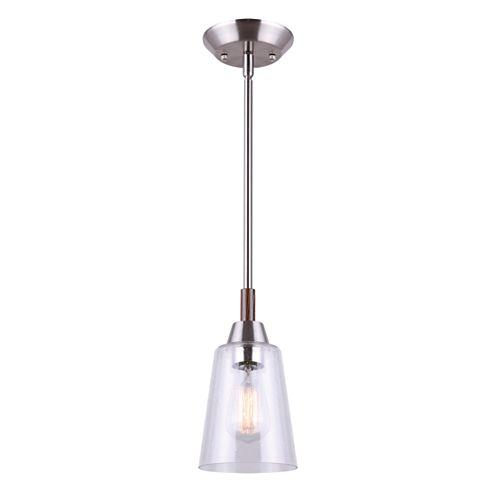 Dex Pendentif à 1 ampoule en nickel brossé et faux bois avec abat-jour en verre grainé