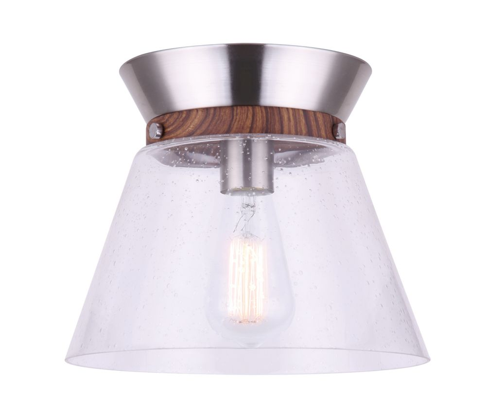 Dex 1-Light Brushed Nickel and Faux Wood Flush Mount with Seeded Glass Shade