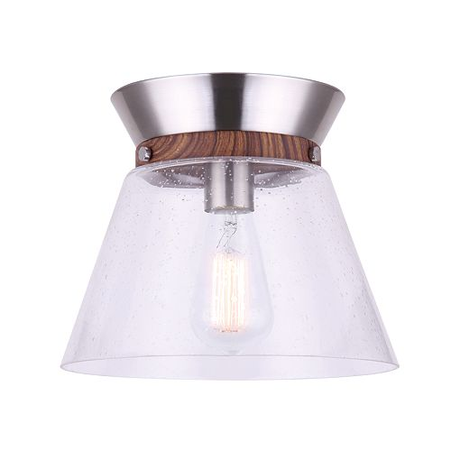 Canarm Ltd Dex 1-Light Brushed Nickel and Faux Wood Flush Mount with Seeded Glass Shade