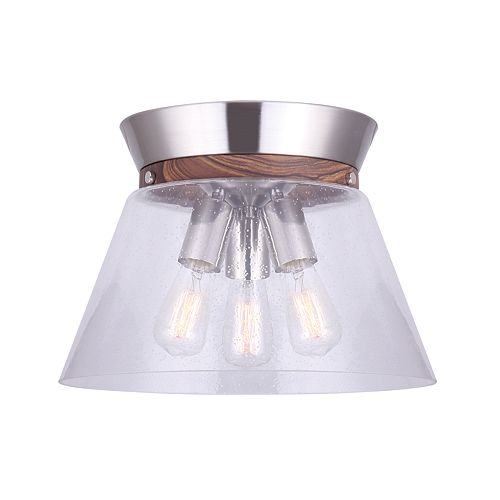 Canarm Ltd Dex 3-Light Brushed Nickel and Faux Wood Flush Mount with Seeded Glass Shade