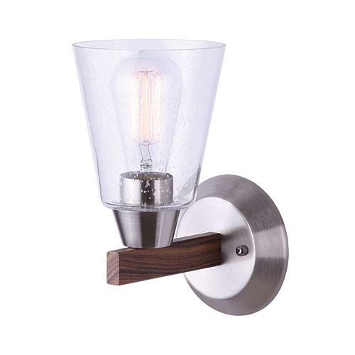 Canarm Ltd Dex Applique Murale à 1 ampoule en nickel brossé et faux bois avec abat-jour en verre grainé