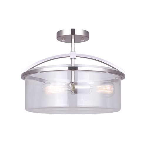 Canarm Ltd Chelsey 3-Light Brushed Nickel Semi-Flush Mount with Clear Glass Shade