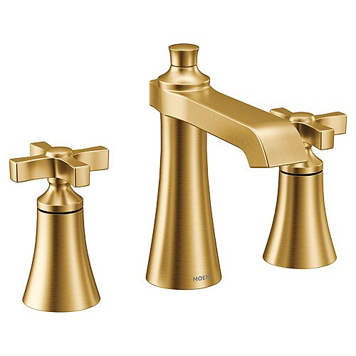 MOEN Flara 8-inch Widespread 2-Handle High-Arc Bathroom Faucet in Brushed Gold (Valve Sold Separately)