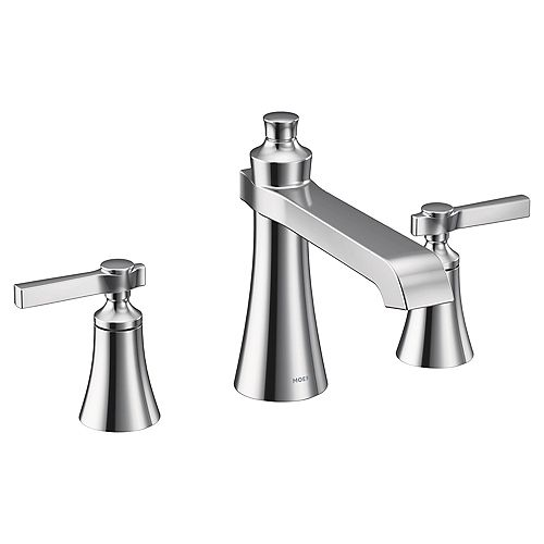 MOEN Flara 2-H Deck-Mount Roman Tub Faucet with Lever Handles in Chrome (Valve Sold Separately)