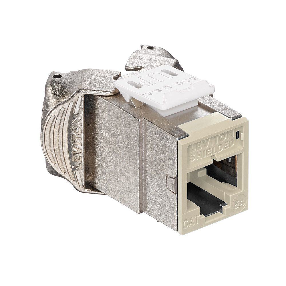 Leviton Atlas-X1 Cat 6A Shielded QuickPort Connector, Component-Rated, Ivory
