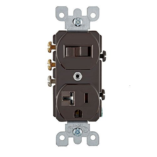 Leviton Duplex Combination Switch/Recept 20A - White