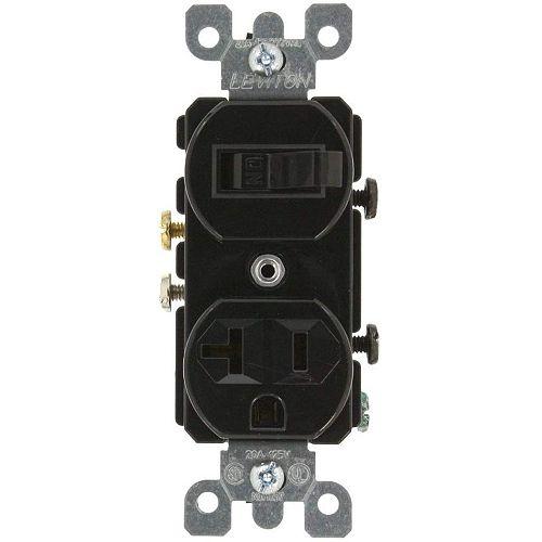 Leviton Duplex Combination Switch/Recept 20A - Black