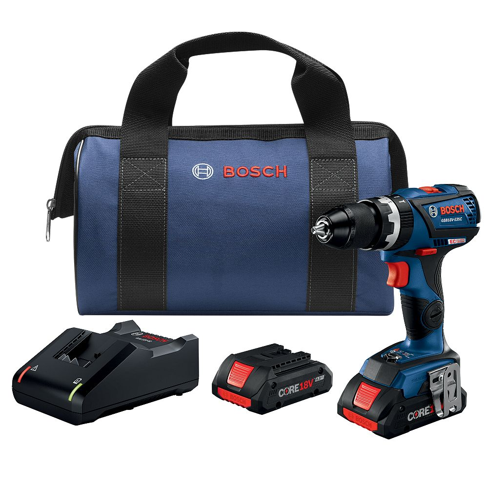 Bosch 18V Lithium Ion Cordless Brushless 1/2-inch Compact Hammer Drill/Driver Kit with Battery and Charger