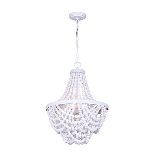 AMELIA 3-Light Matte White Chandelier with Real Wood Beads
