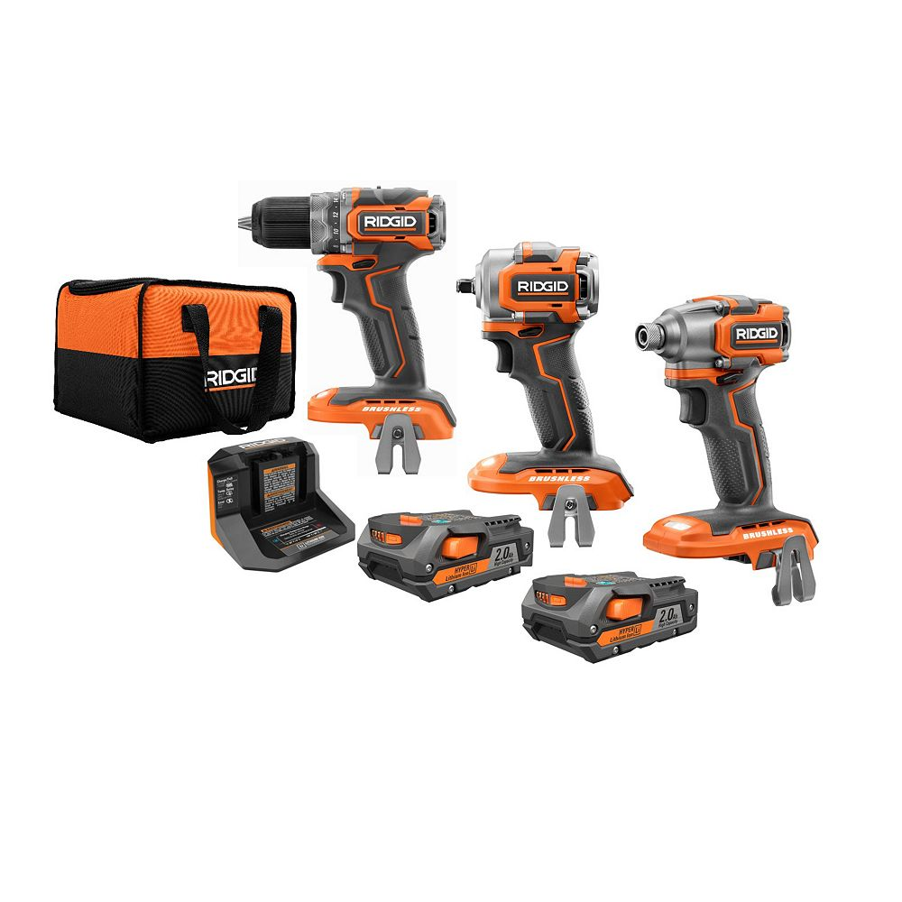 RIDGID 18V Sub-Compact Drill, Impact Driver, and 3/8-inch Impact Wrench Kit