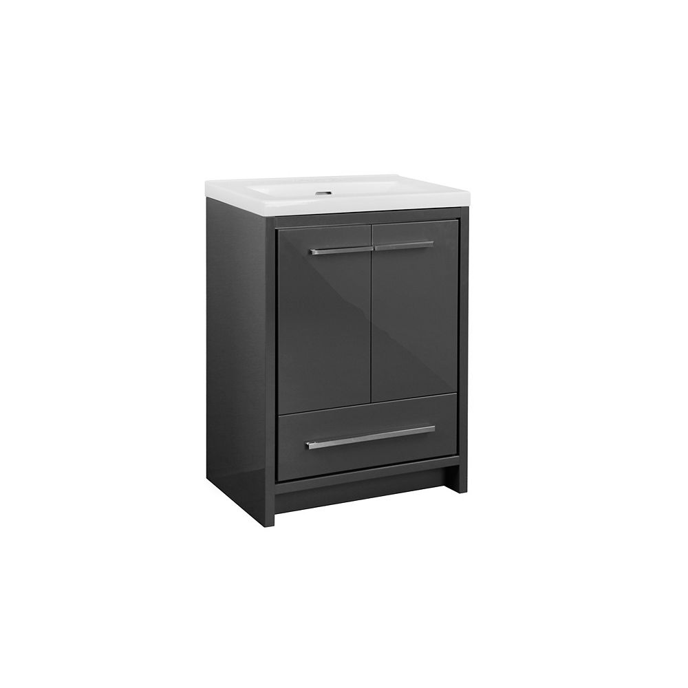 Glacier Bay Romali 24-inch 2-Door and Drawer Vanity with White Rectangular Ceramic Top in Gloss Grey Finish