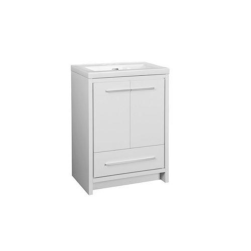 Romali 24-inch Vanity with Ceramic Top in Gloss White Finish