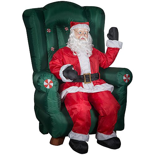 Home Accents Holiday 5.5 ft. Animated Santa in Fancy Chair with External Spotlight