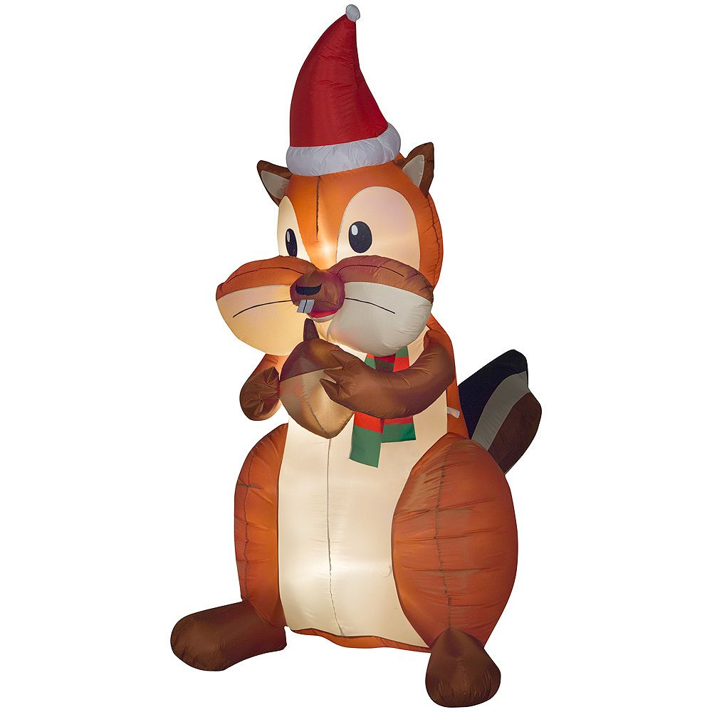 Home Accents 6.5 ft. Animated Inflatable Christmas Chipmunk with Acorn