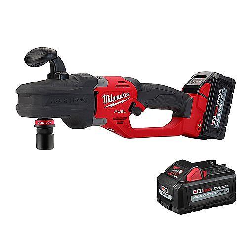 Milwaukee Tool M18 FUEL 18V Li-Ion Brushless 7/16 -inch Hole Hawg RA Drill Kit W/Quick-Lok, deux piles 6.0Ah