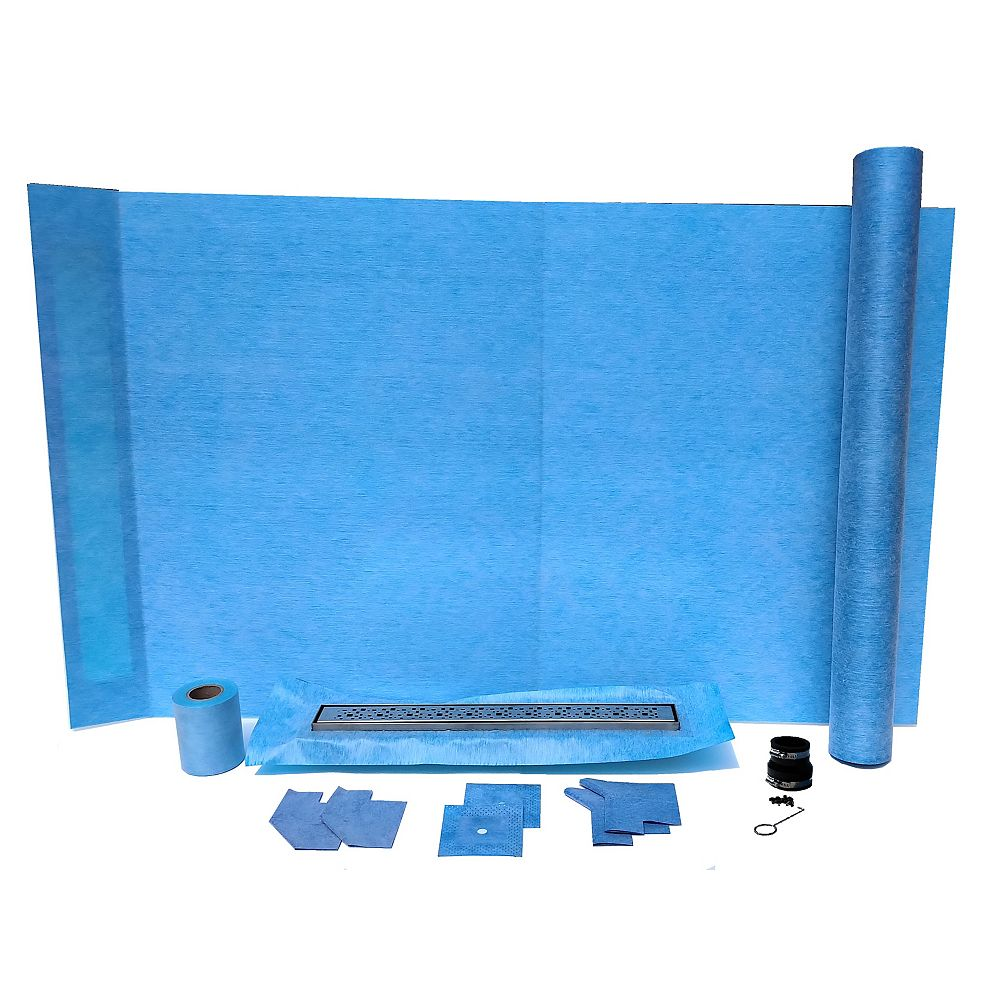 AlinO 36x60-inch Rectangular Shower Kit with 24-inch Linear Wall/Corner drain in Bright clear