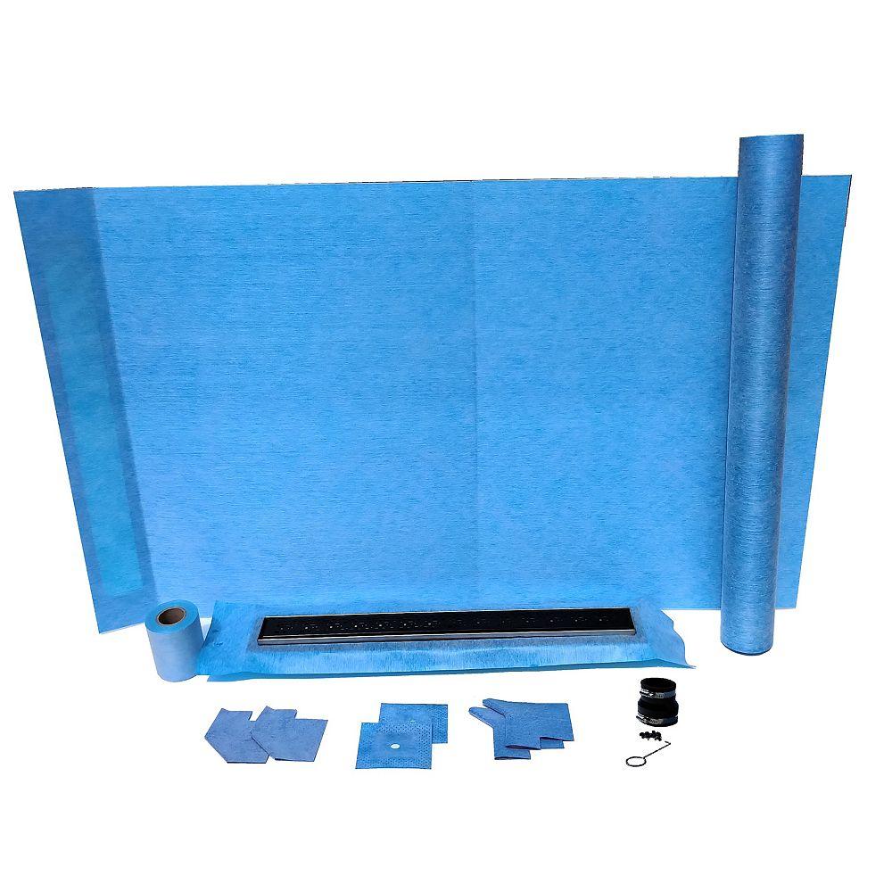 AlinO 36x60-inch Rectangular Shower Kit with 24-inch Linear Wall/Corner drain in Black