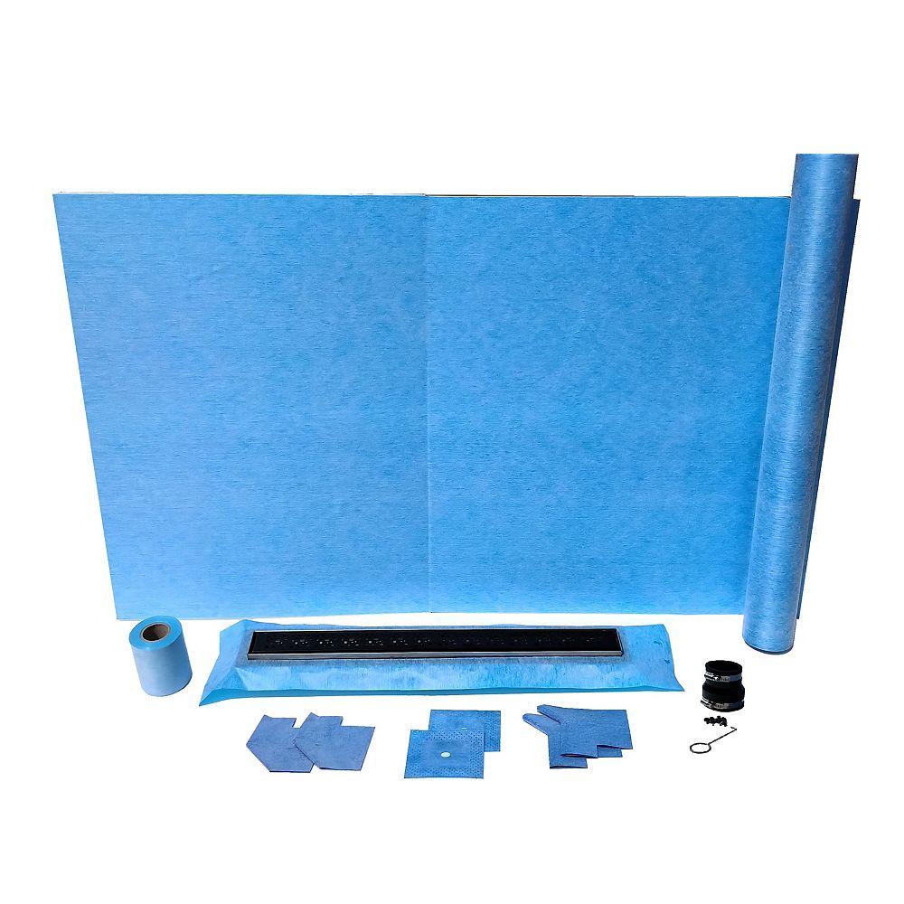 AlinO 36x60-inch Rectangular Shower Kit with 24-inch Linear Center drain in Black
