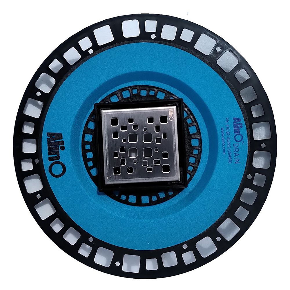 AlinO 4-inches x 4-inches Square ABS Drain in Black