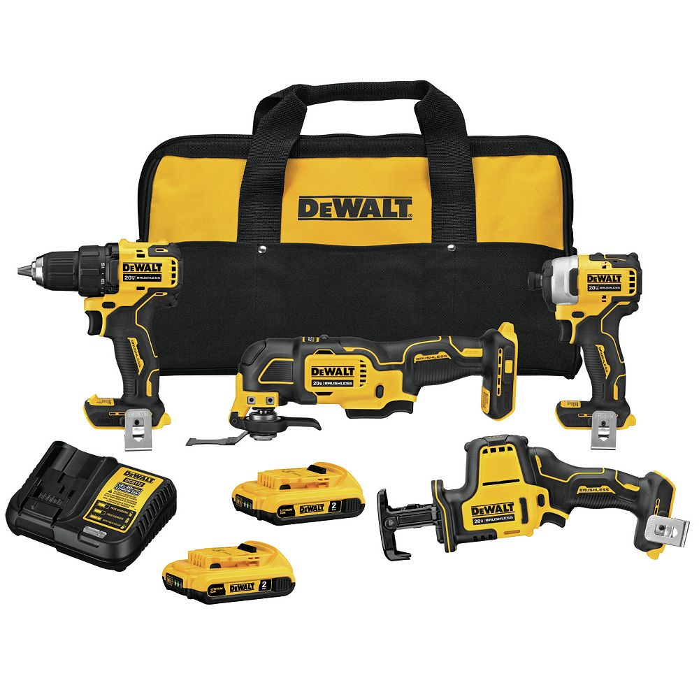 DEWALT ATOMIC 20V Lithium-Ion Combo Kit (4-Tool) with Two 2.0 Ah Batteries and Charger