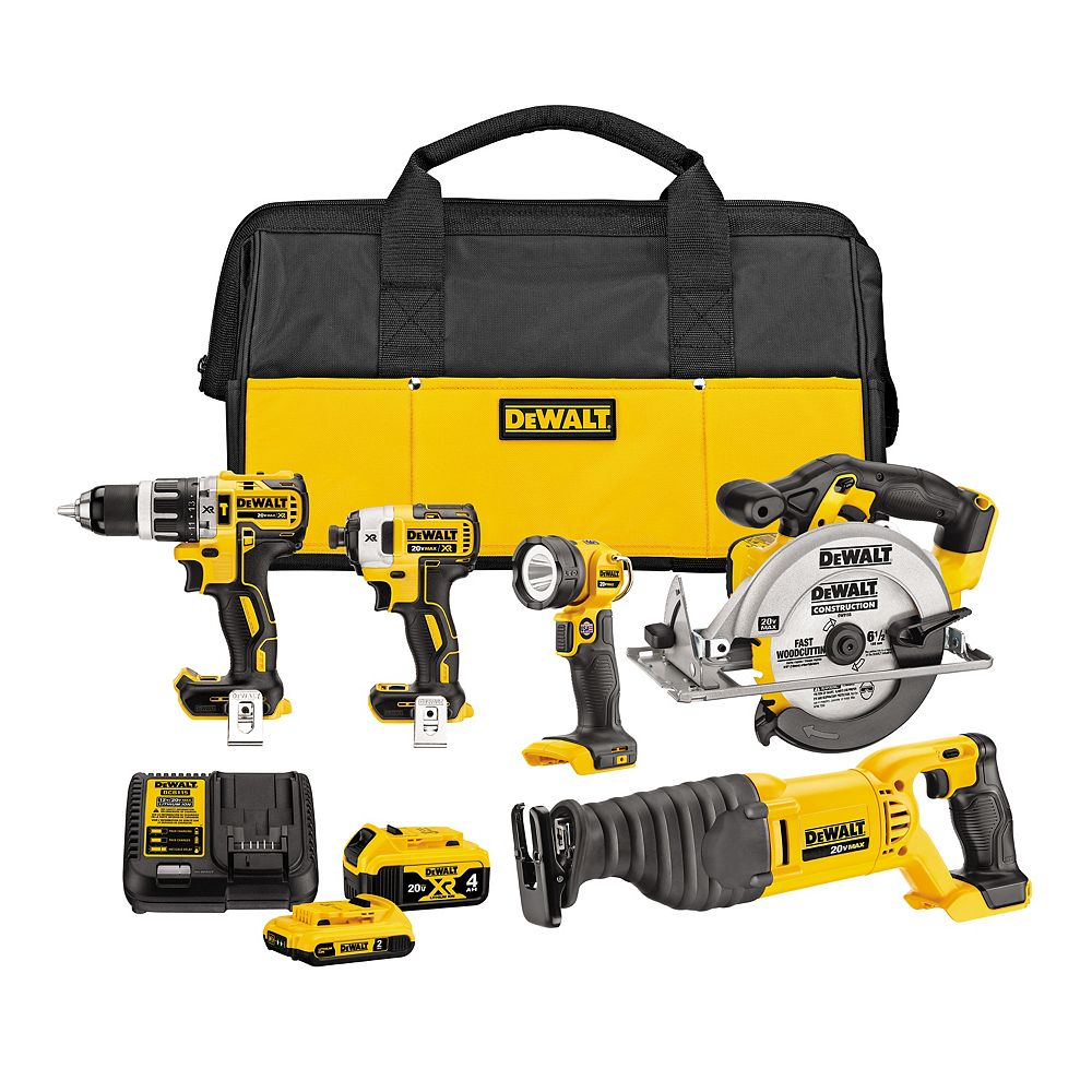 DEWALT 20V MAX Lithium-Ion Cordless Combo Kit (5-Tool) with 4Ah Battery, 2Ah Battery, Charger and Bag
