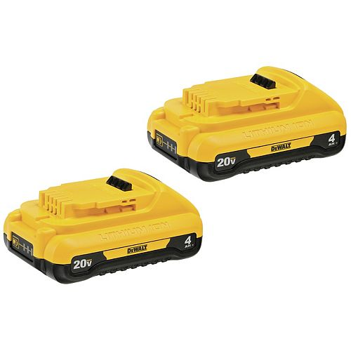 Dewalt Batterie compacte 20V MAX Lithium-Ion 4.0 Ah (2-Pack)