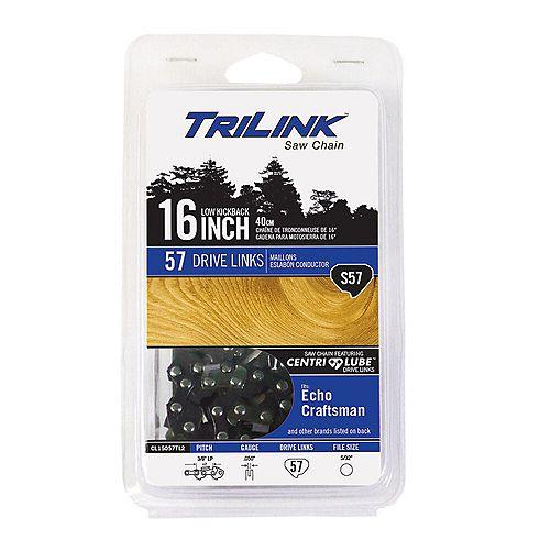 Chaîne TriLink de 16 po S57 pour scie à chaîne