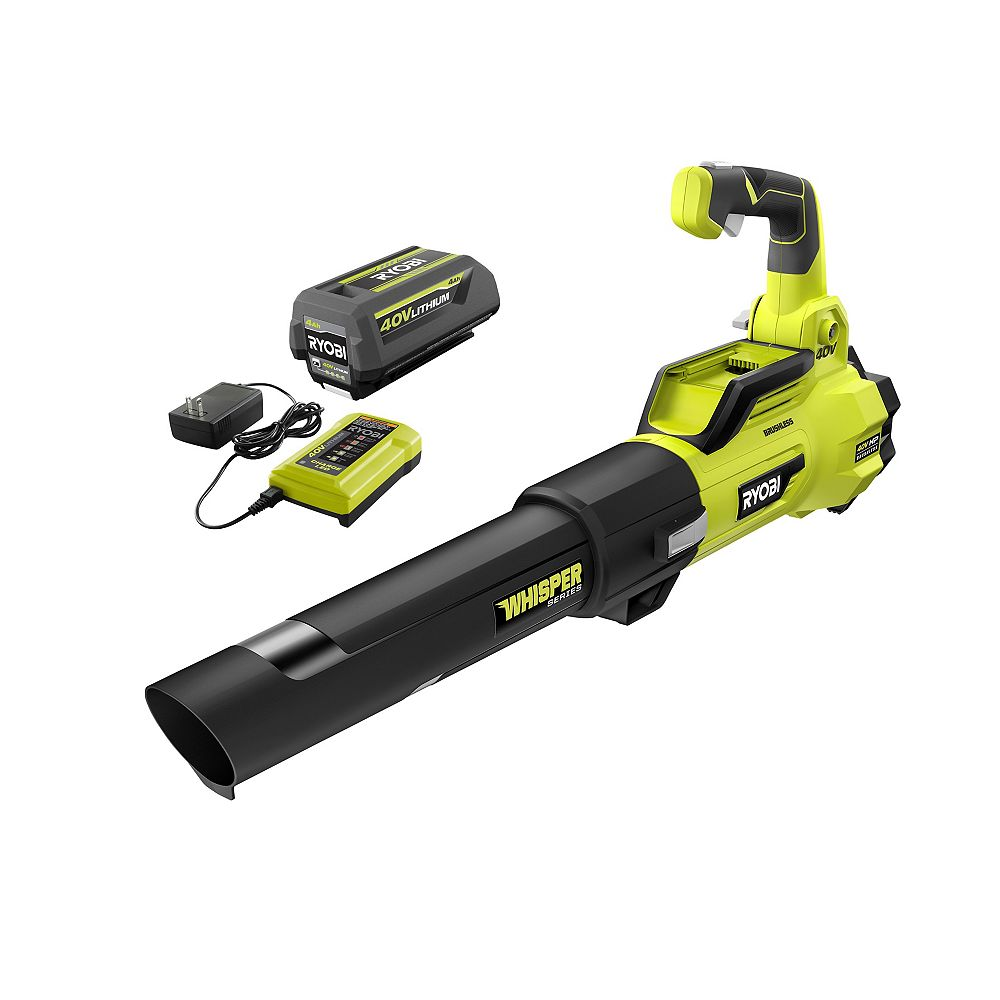 RYOBI 125 MPH 550 CFM 40V Lithium-Ion Brushless Cordless Jet Fan Leaf Blower with 4.0 Ah Battery