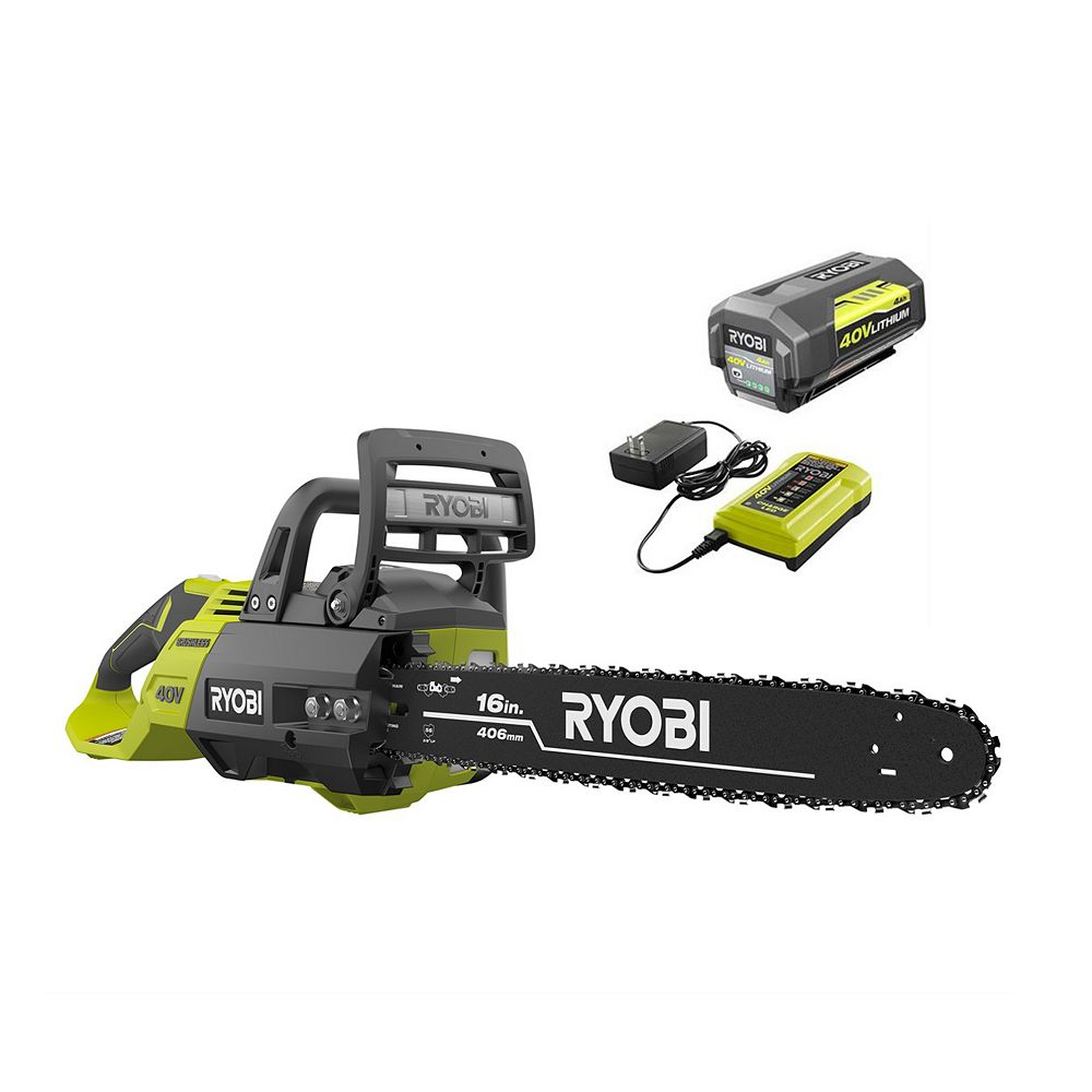 RYOBI 16 -inch 40V Brushless Lithium-Ion Cordless Chainsaw, 4 Ah Battery and Charger Included
