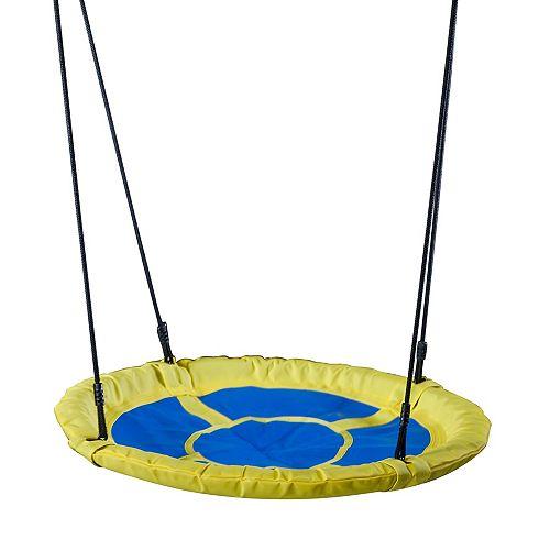 Balançoire-soucoupe circulaire pour enfants- bleu