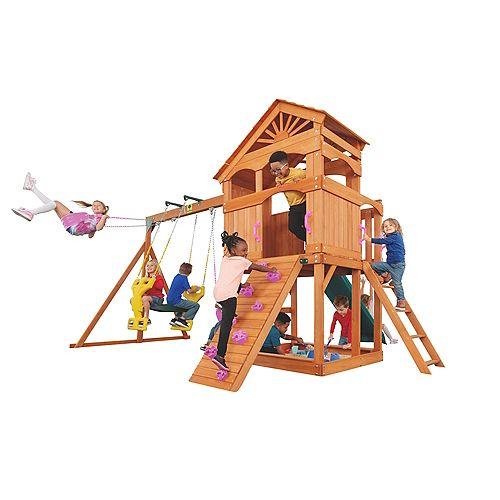 Structure de jeu Timber Valley - rose avec glissière verte