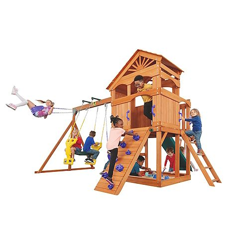 Creative Cedar Designs Timber Valley Wooden Swingset- Purple with Green Slide