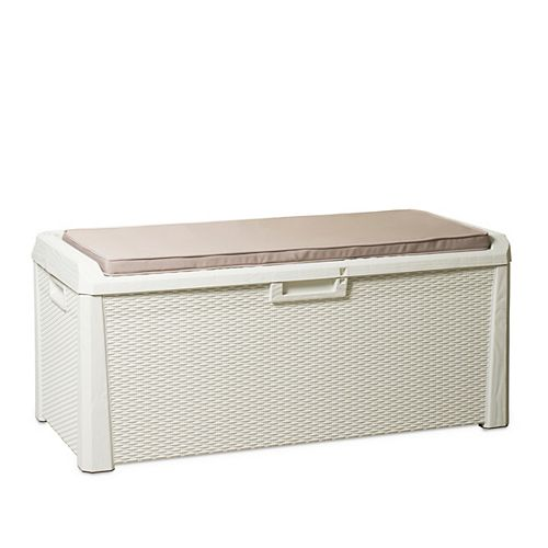 National-Others TOOMAX Santorini Plus 19.4 Cu. Ft. Outdoor Deck Box with Cushion - White