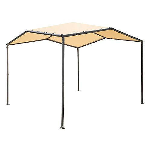10x10 Pacifica Gazebo Canopy Charcoal Frame and Marzipan Tan Cover