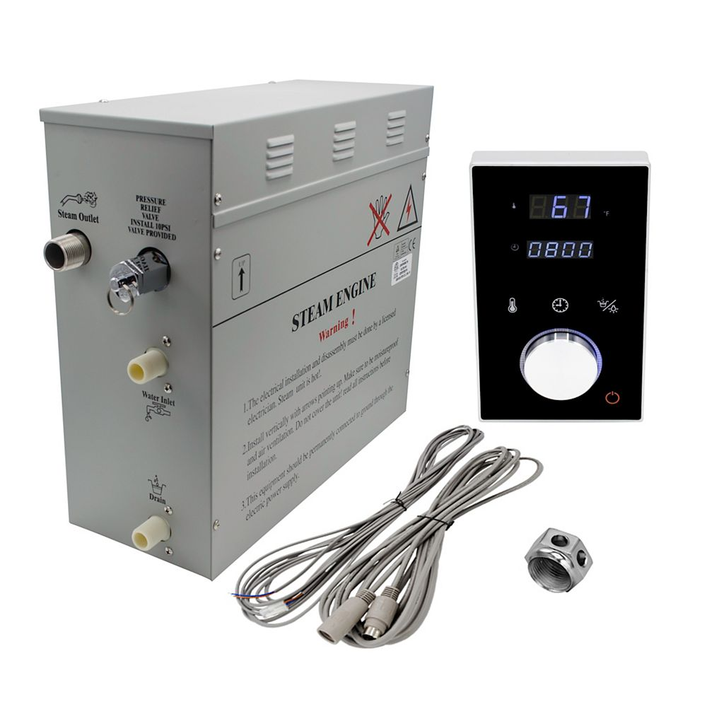 Steam Planet Superior 6 kW Deluxe Self-Draining Steam Bath Generator with Digital Programmable Control in Black