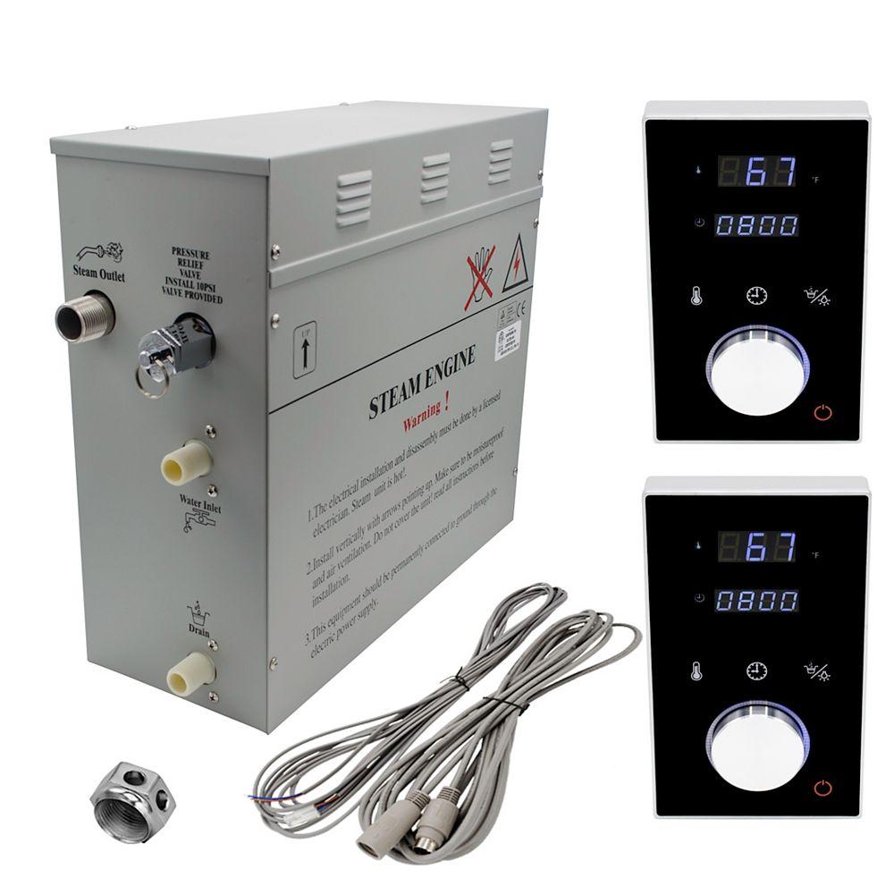 Steam Planet Générateur de bain à vapeur de luxe supérieur de 6 kW, 2 commandes numérique programmable en noire