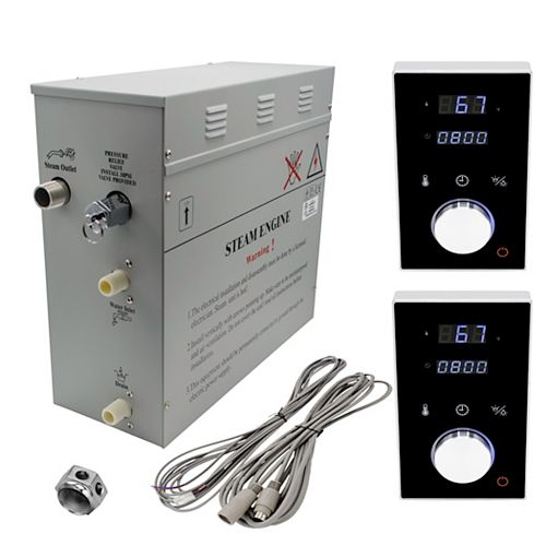 Générateur de bain à vapeur de luxe supérieur de 6 kW, 2 commandes numérique programmable en noire