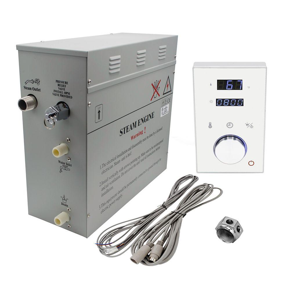 Steam Planet Générateur de bain à vapeur de luxe supérieur de 9 kW avec commande numérique programmable en blanc
