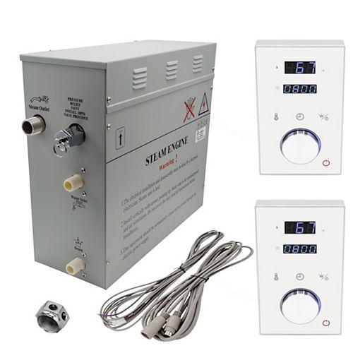 Générateur de bain à vapeur de luxe supérieur de 9 kW, 2 commandes numérique programmable en blanc